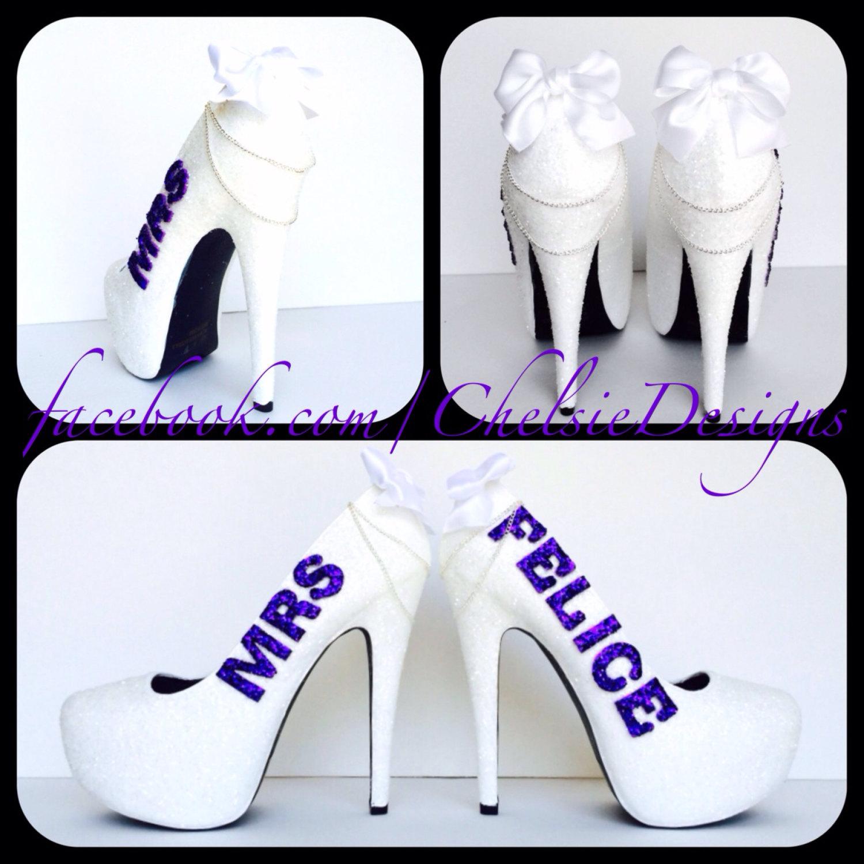 9092ebb2d8ef White and Royal Purple Eggplant Mrs. Wedding Last Name Glitter Pump High  Heels with Satin