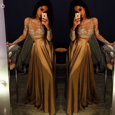 b4fcfc4731 Long Sleeve Gold Prom Dresses