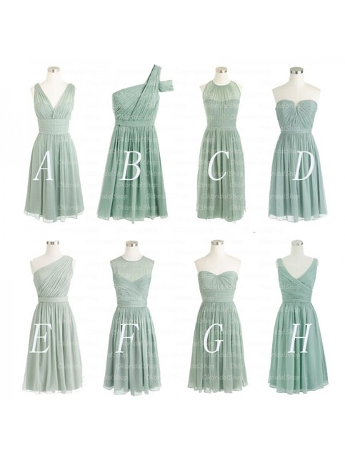 Dusty Green Bridesmaid Dress Short Mismatched Bridesmaid