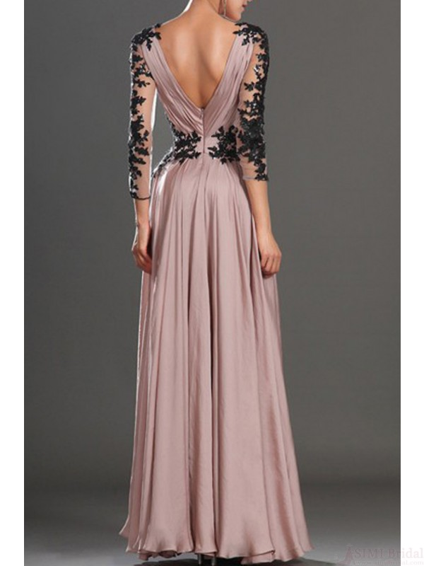 V-Neck prom dresses, lace prom dresses, long sleeve a-line prom ...