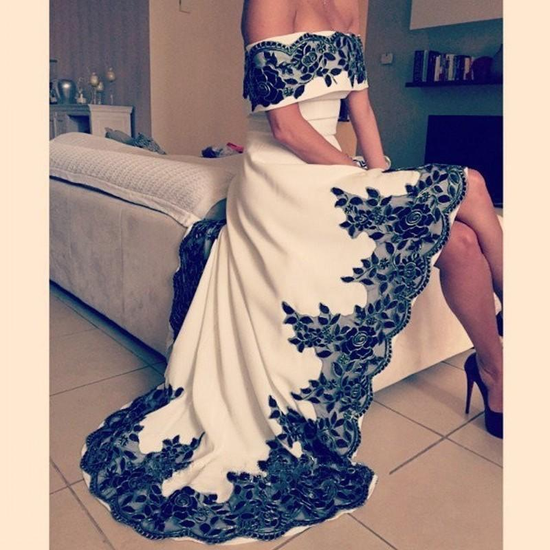 Off the shoulder High-Low Long Prom Dress,Evening Dress ,Charming ...