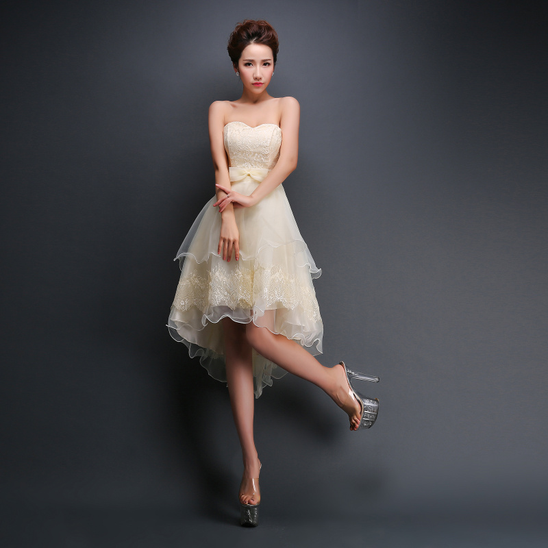 70e6fe6b3dd J103 New Bridesmaid Dresses Champagne Lace Sweetheart Strapless Bandage  Short Plus Size Formal Dress Custom Sexy