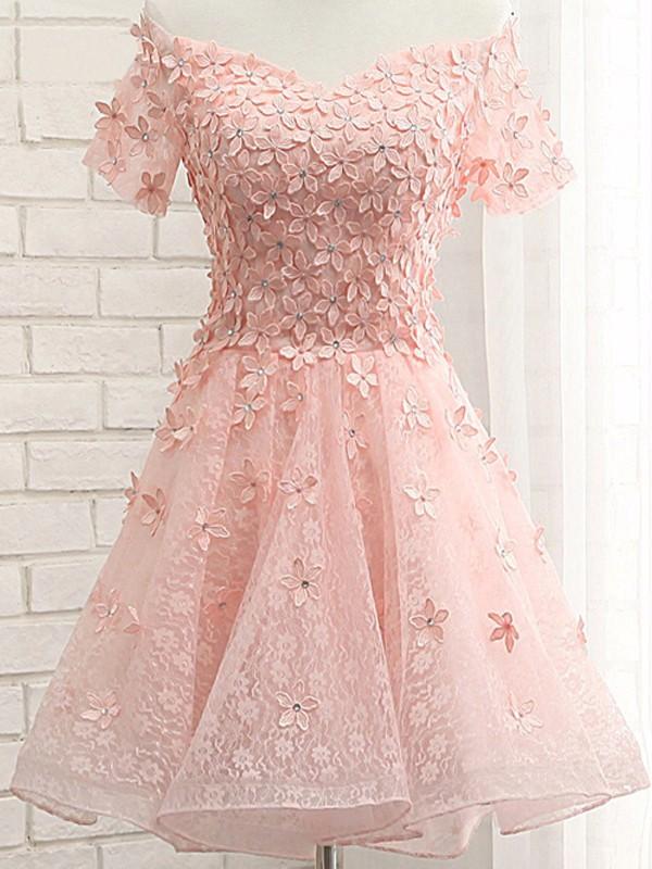 Pink Lace Homecoming Dresses Off Shoulder Appliques Homecoming Dresses Organza Homecoming Dresses Cheap Homecoming Dressespd190361 From Focusdress