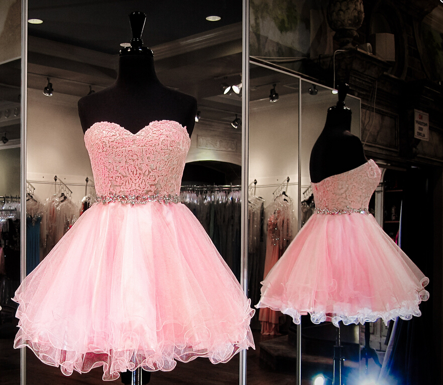 J125 Sweetheart Lace Top Short Prom Dress, Homecoming Dresses, Top Selling  Pink Homecoming Dresses