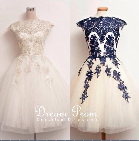 cfb5b7eef98a Elegant White /Deep Blue Lace Knee-length Vintage Dresses, Cute party dress  ...