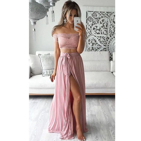 Long Prom Dress Simple Summer Beach Dress Two Pieces
