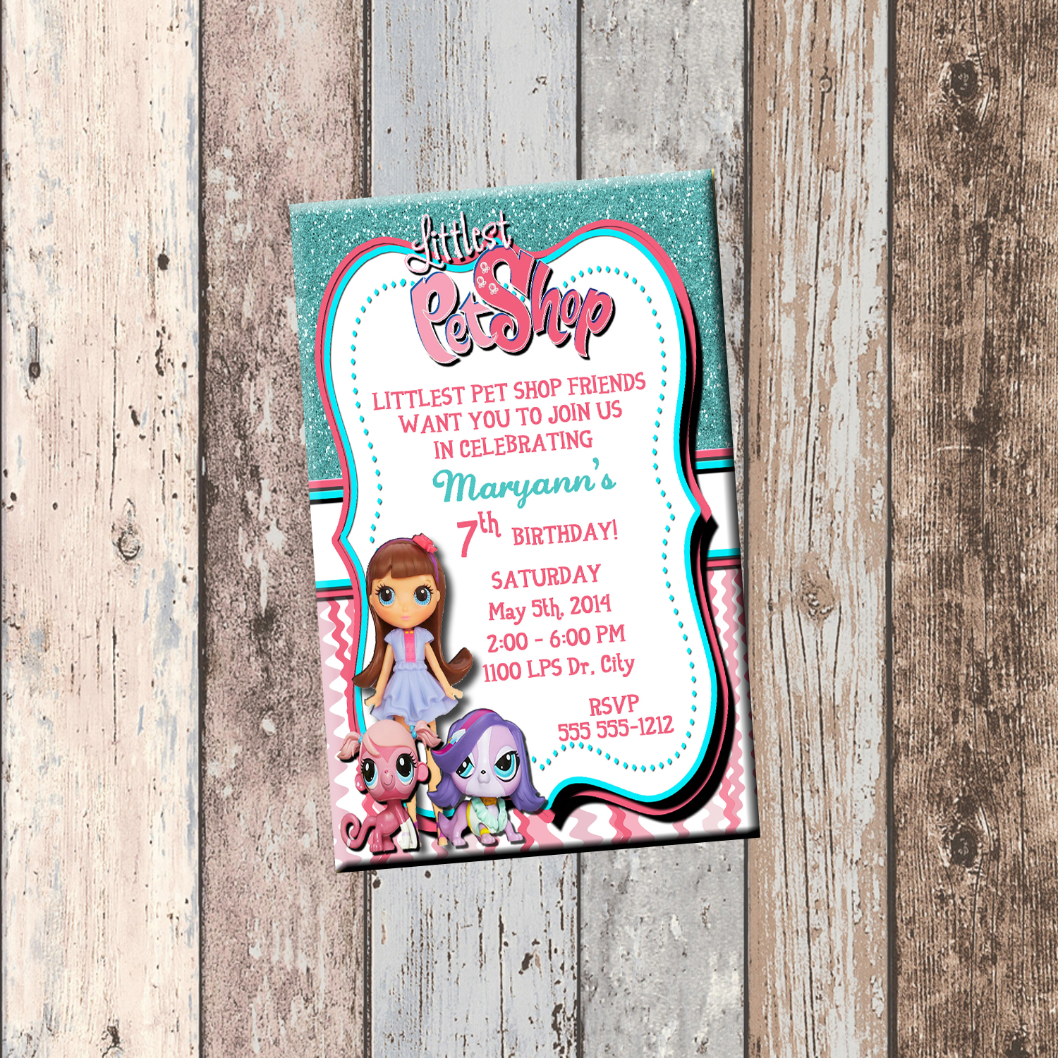 Littlest Pet Shop Personalized Birthday Invitation 1 Sided Card Party LPS