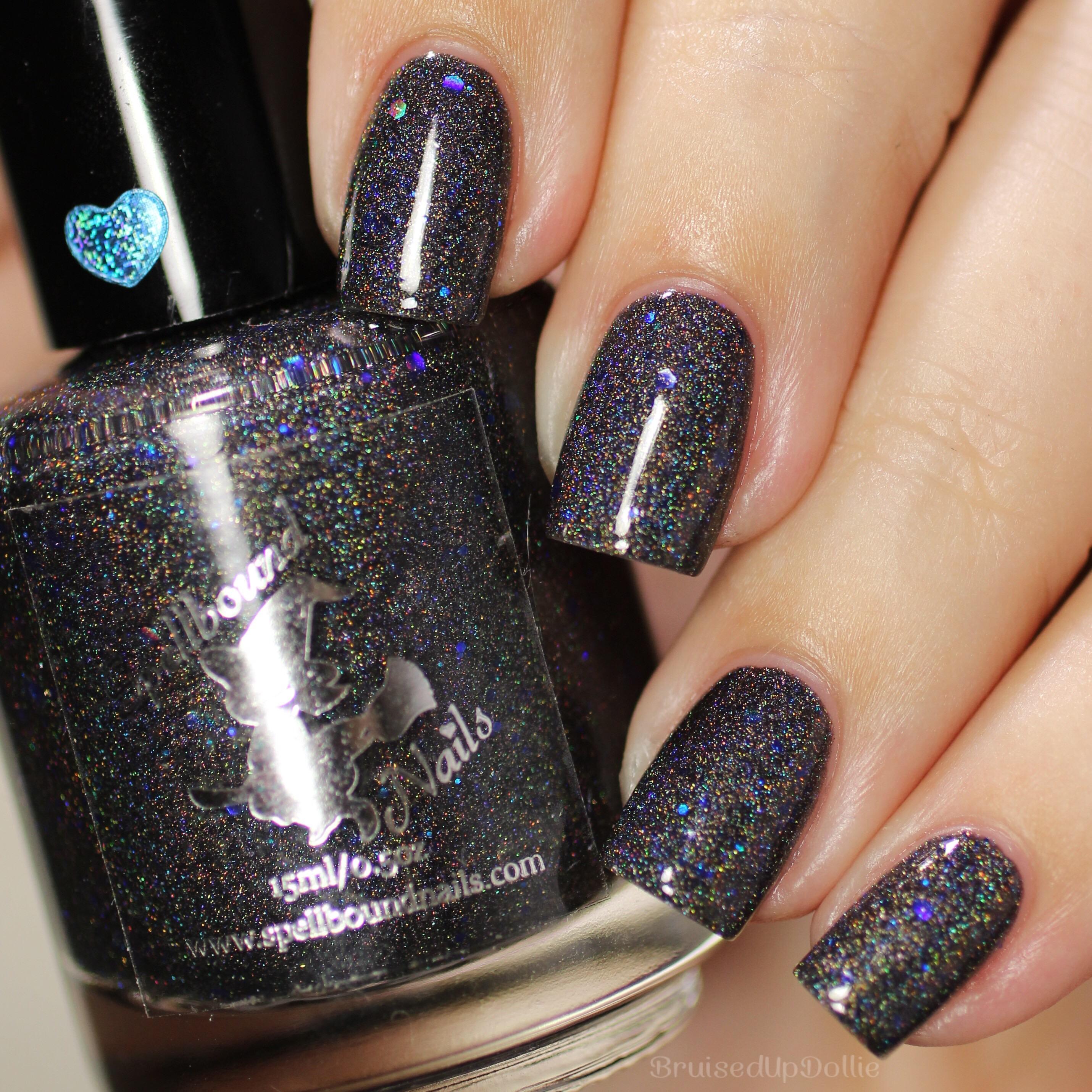 Dementor Custom Harry Potter Inspired Black Holo Holographic Navy Blue Glitter Nail Polish