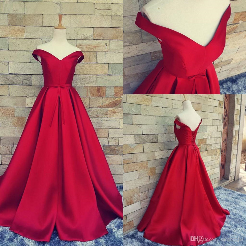 Simple Ball Gown Off The Shoulder Red Satin Prom Dress