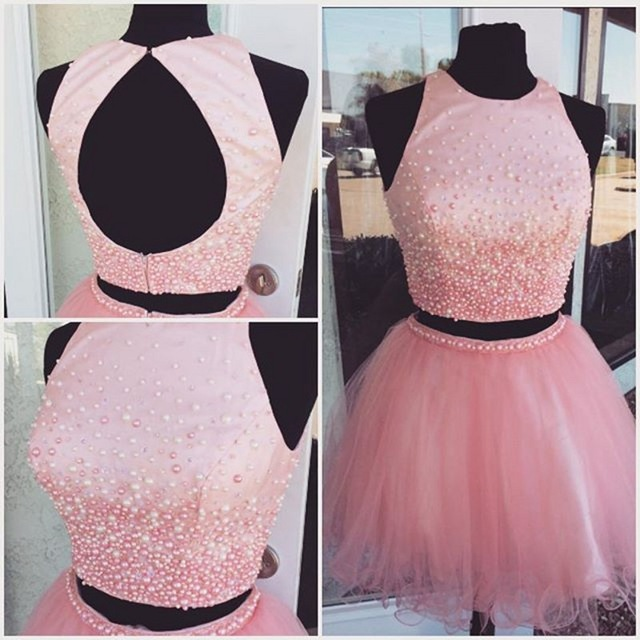 Two Pieces Pink A Line Homecoming Dressshort Prom Dressescocktail