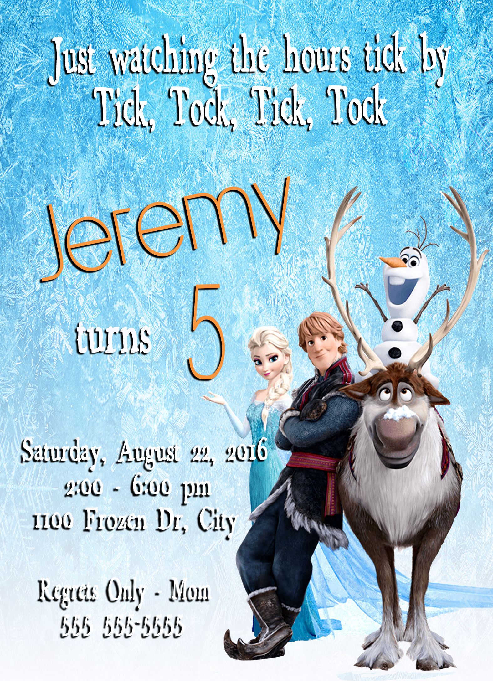 Frozen Personalized Birthday Invitation 2 Sided Birthday Card Party Invitation Frozen Party Olaf Party Sold By Scg Designs