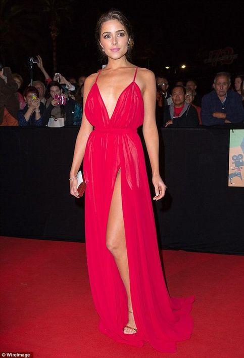 Celebrity Dress Fuchsia Spaghetti Straps Side Slit Chiffon