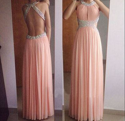 Long Prom Dress,peach pink Prom Dress, open back Prom Dress, cross ...