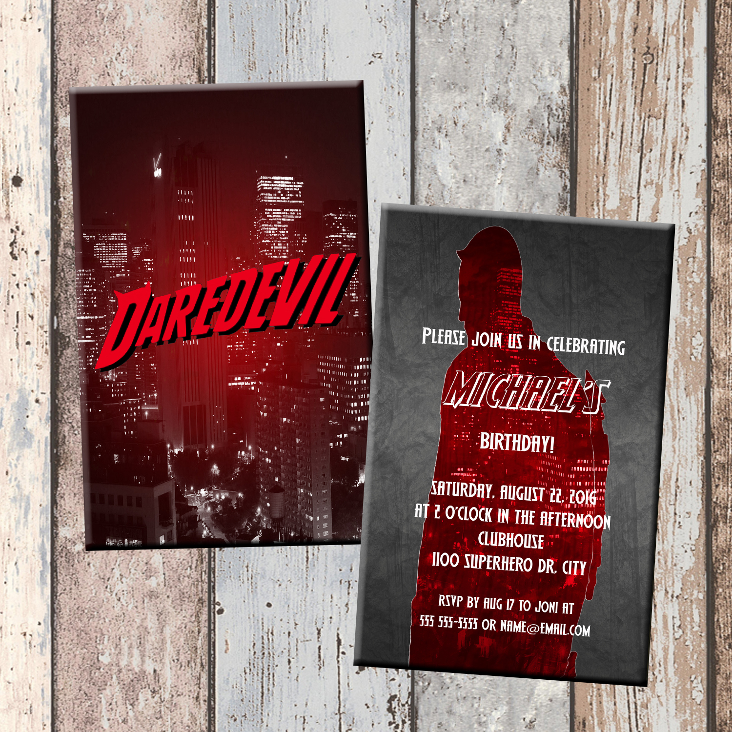 Daredevil Superhero Personalized Birthday Invitation 2 Sided Card Party