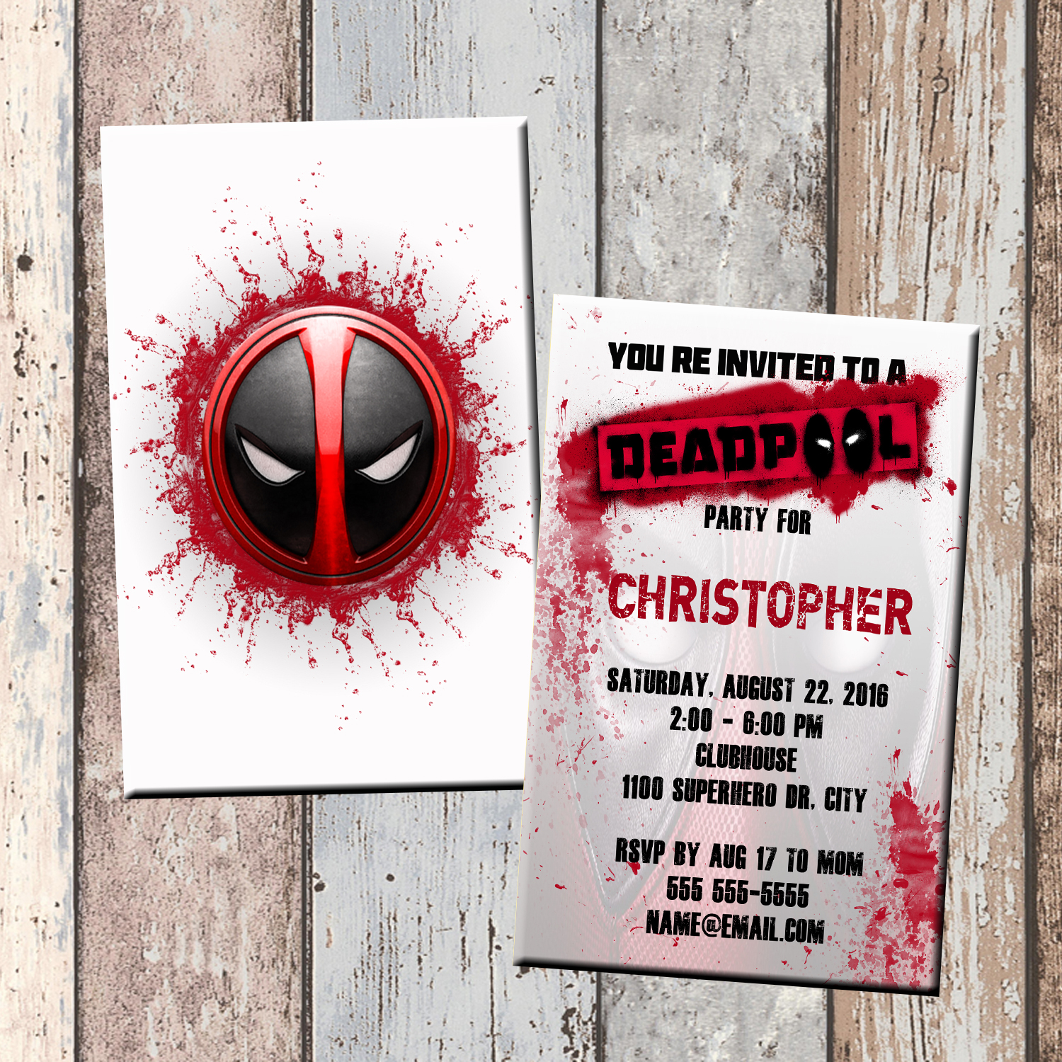 Deadpool Superhero Personalized Birthday Invitation 2 Sided Card Party