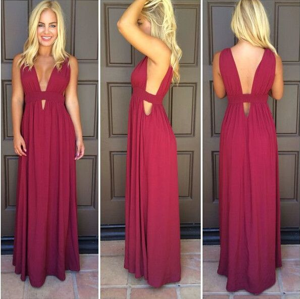 f54b3279b3b Prom Dress A-line Dark Red Deep V-neck Backless Chiffon Long Prom Gowns