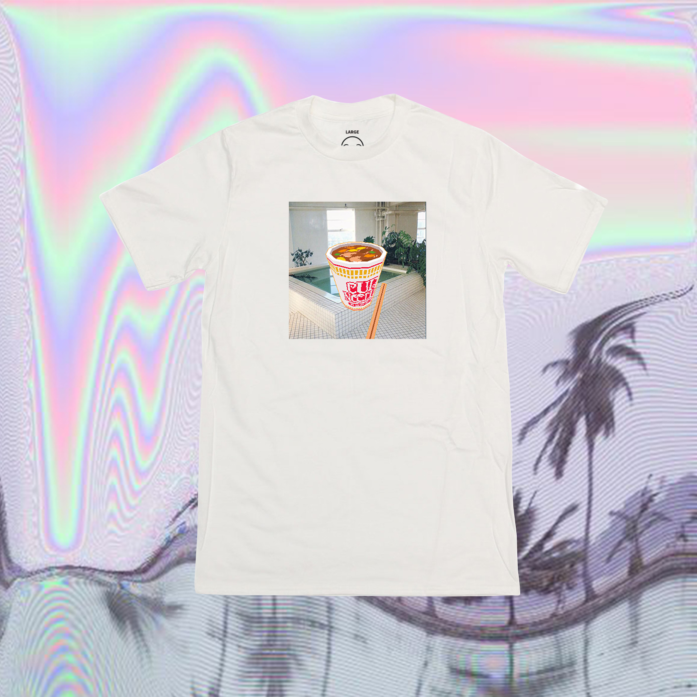 VAPORWAVE JAPANESE CUP NOODLE IN LOFI 3D T SHIRT IN WHITE from STORE CAT CAT