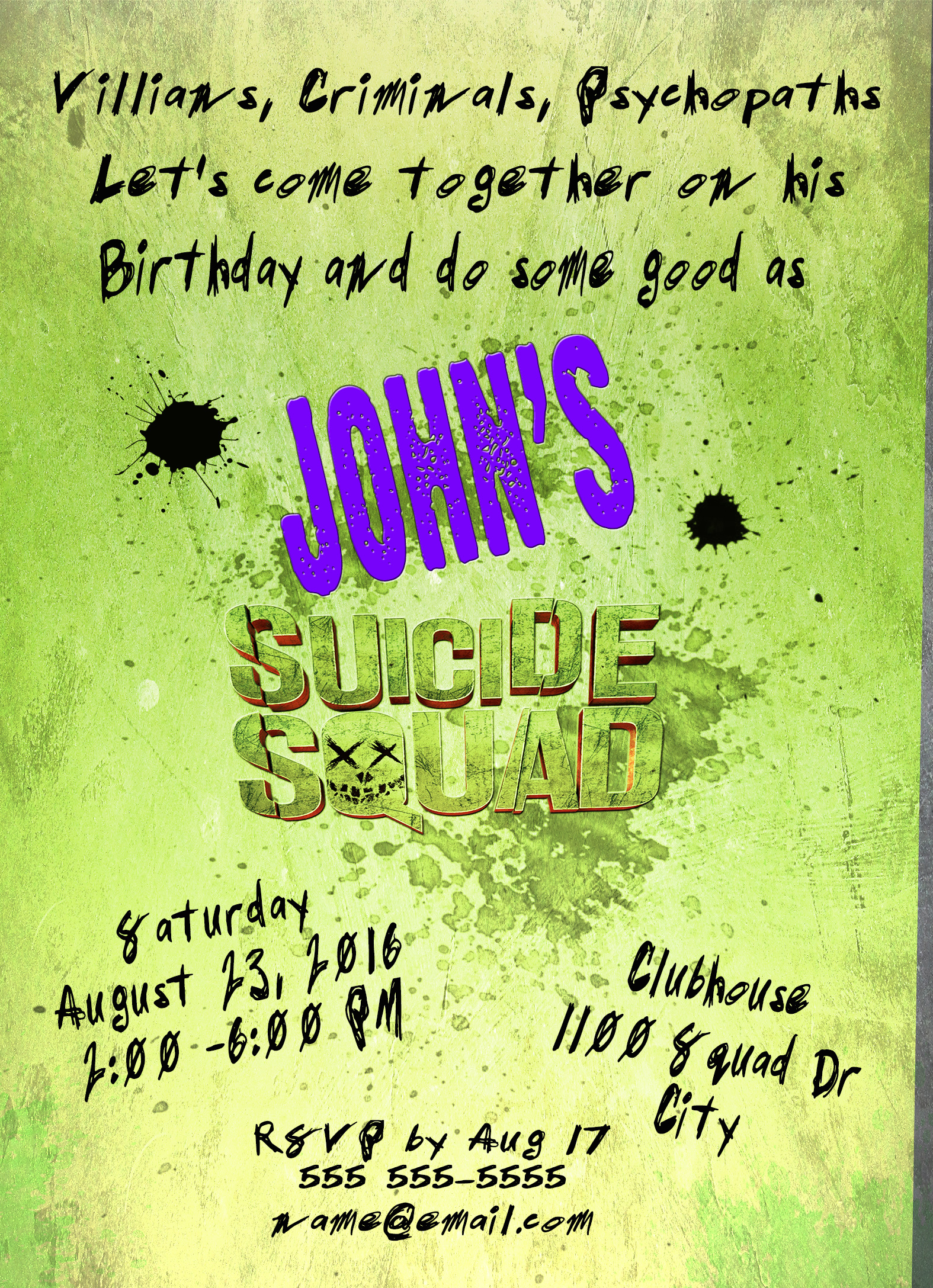 Suicide squad superhero personalized birthday invitation 2 sided sq back small stopboris Image collections