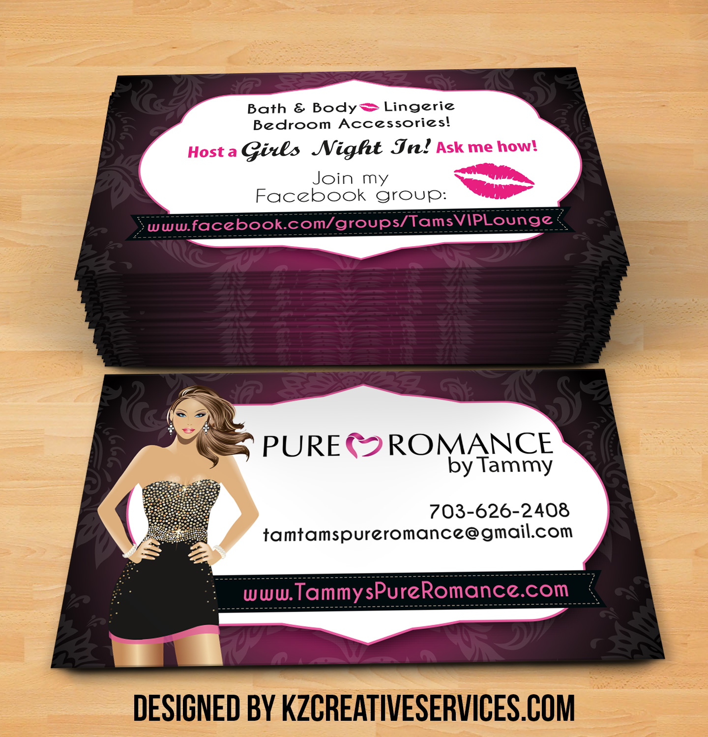Pure Romance Business Cards Style 1 Kz Creative Services Online Store Powered By Storenvy