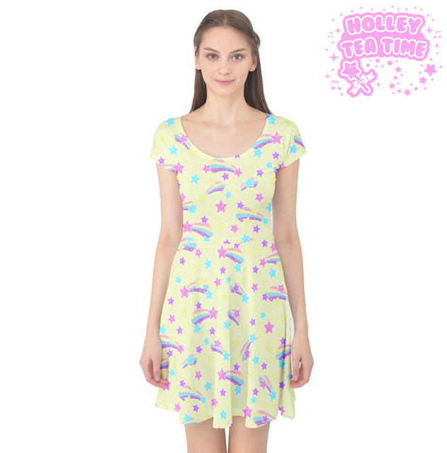 Starry Party Yellow Cap Sleeve Skater Dress ✨ Made To Order ✨ Fairy kei 09eb78f65