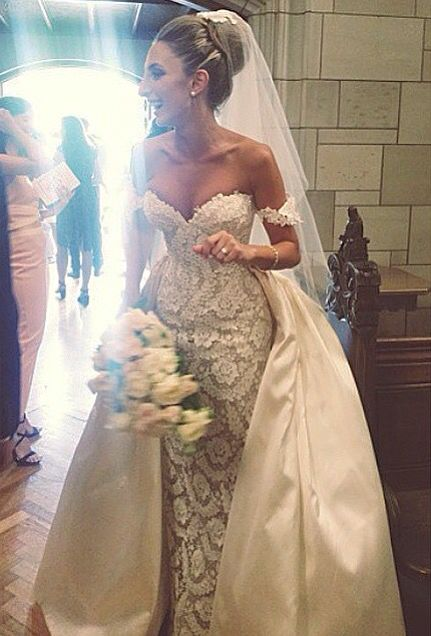 Lace Wedding Dresses Mermaid Elegant Bridal Gowns New White Lace off ...