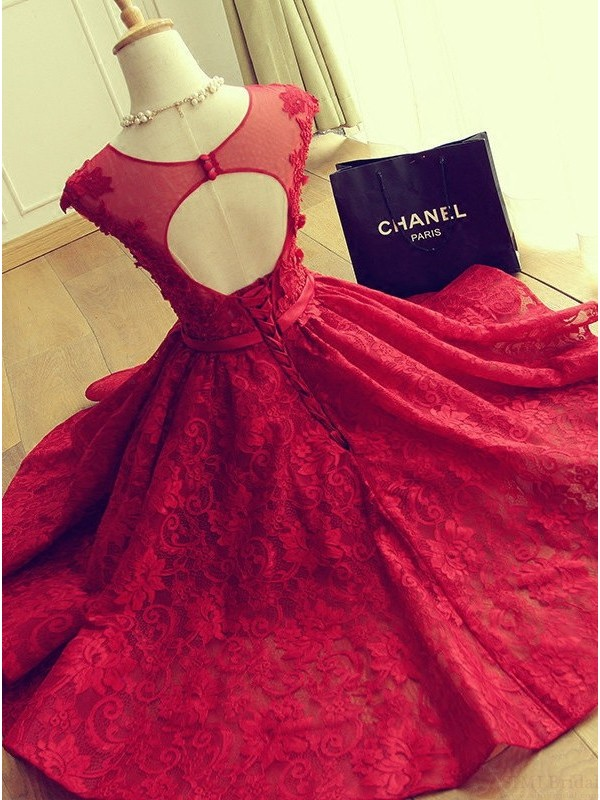 4cb7b7db8c3 ... Cute Red Knee-length Red Short Lace Christmas Party Dresses - Thumbnail  3 ...