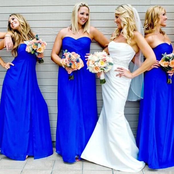 5eb58d674b3ae Bridesmaid Dress A-line Elegant Sweetheart Chiffon Royal Blue Long  Bridesmaid Dresses
