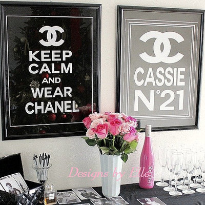 Chanel Inspired Pink Black Or White Leather Graphic Candy