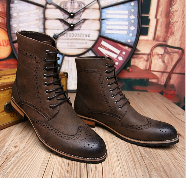 ddaddbe4884fb Handmade men brown lace up boot, Men brown high ankle Combat boots ...