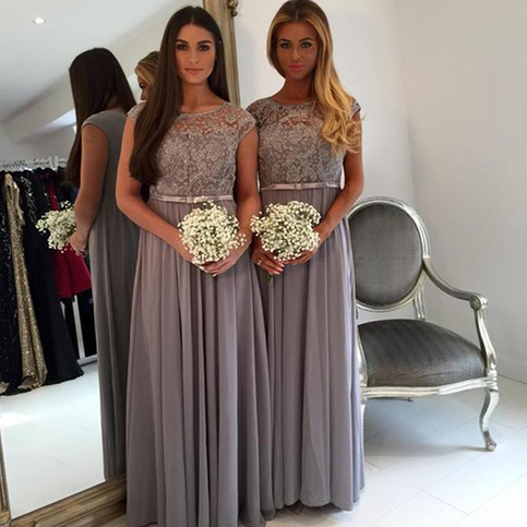 Cap Sleeve Bridesmaid Dress Grey Bridesmaid Dress Long
