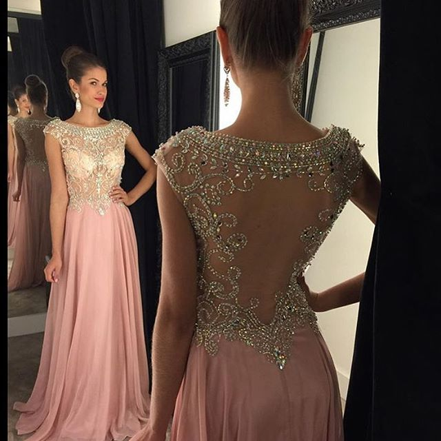422578de19d83 New Arrival Sexy prom dress,blush pink prom dresses,Beaded Bodice Sheer  Back Floor