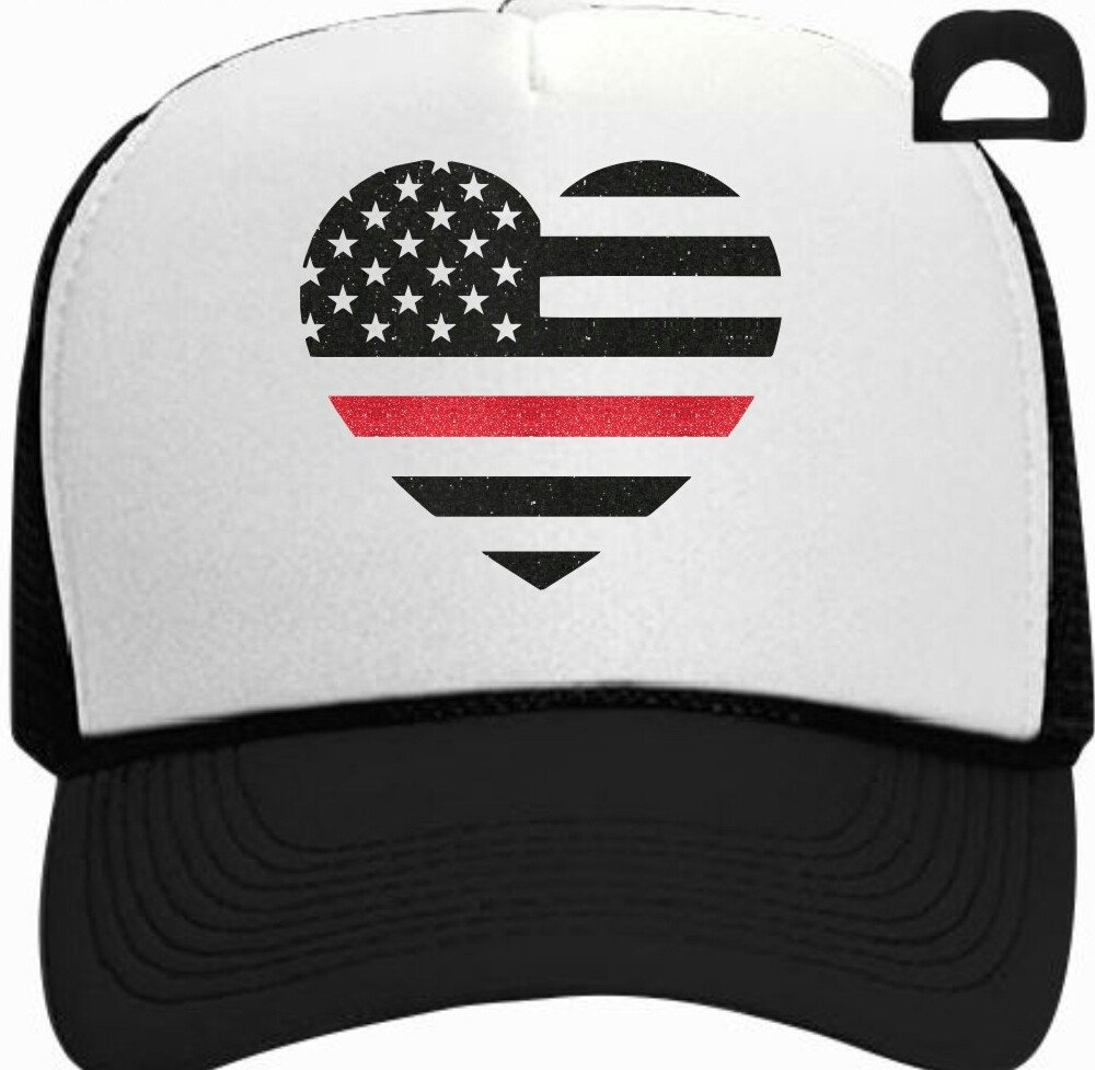 Firefighter Thin Red Line Heart Flag Trucker Hat