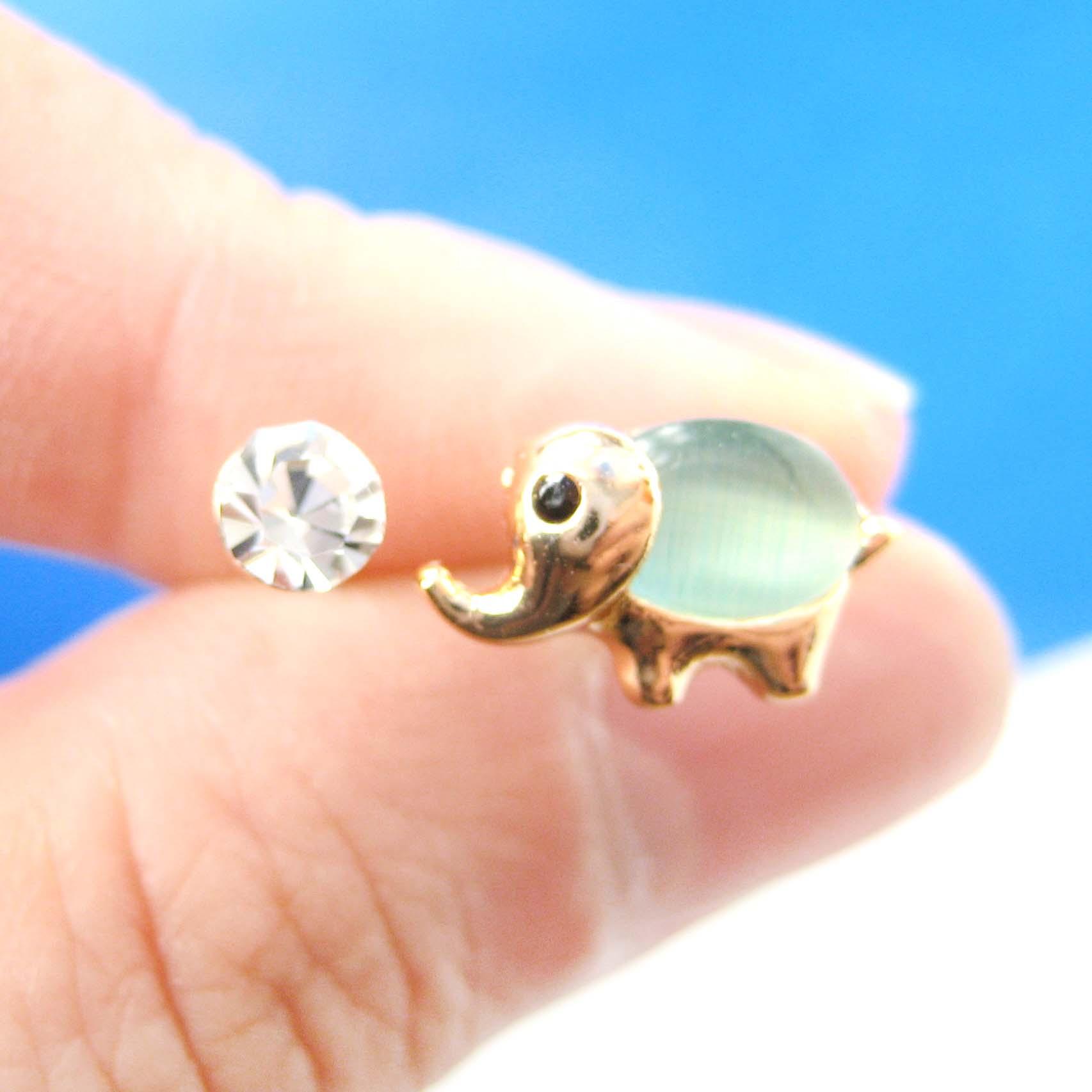 Small Elephant Shaped Green Cat S Eye Stone 4 Piece Stud