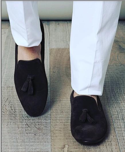 Handmade Men Black Color Tassel Shoes Suede Shoes Men