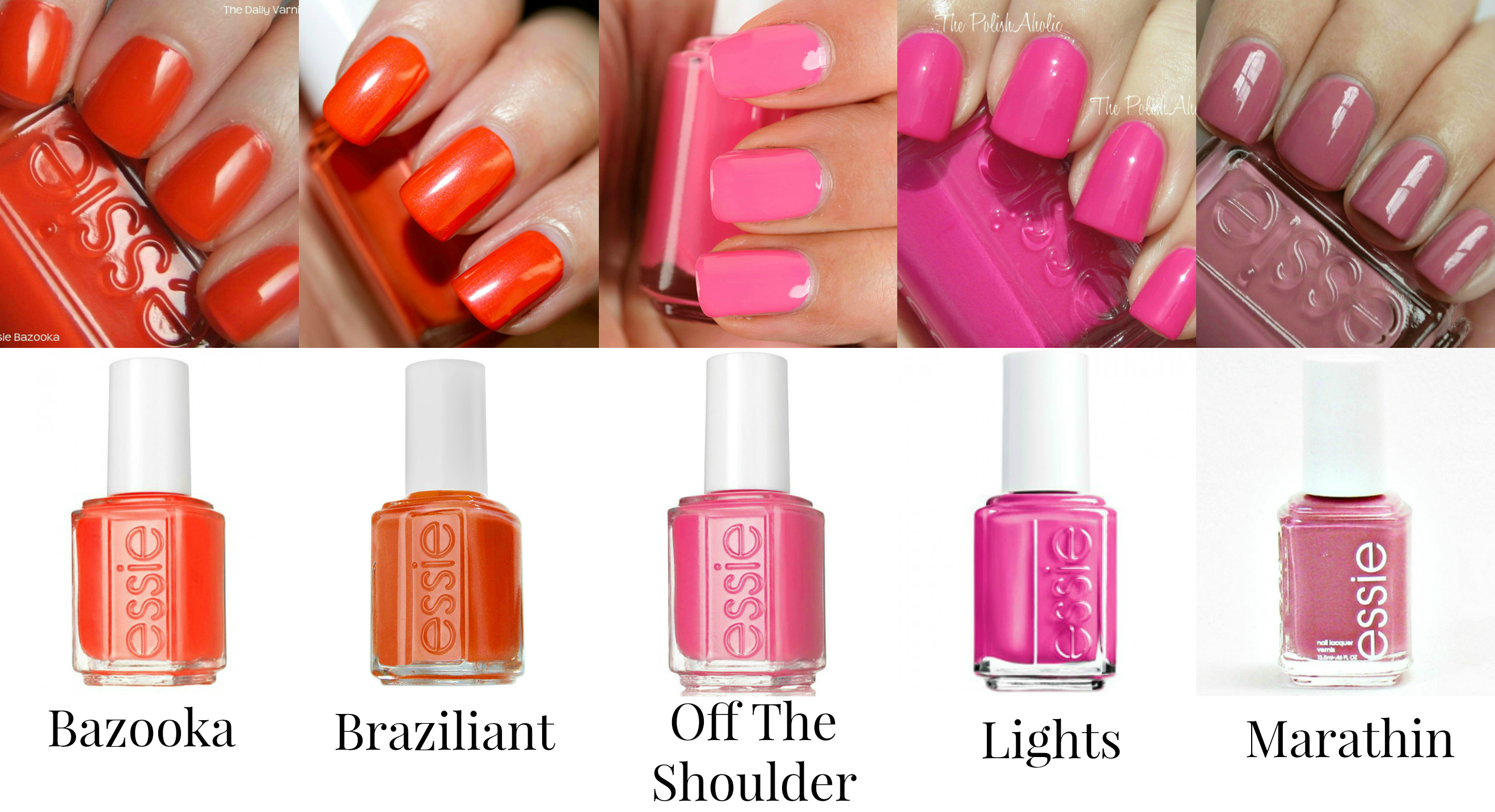 Essie Nail Polishes - Oranges and Pinks - Bazooka, Braziliant, Off ...