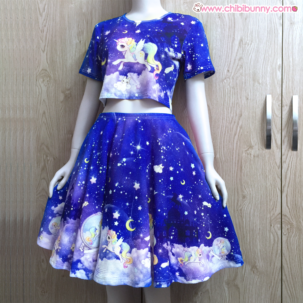 c6d96548c5 Galaxy unicorn - Crop top and skirt set - CT2LS6 on Storenvy