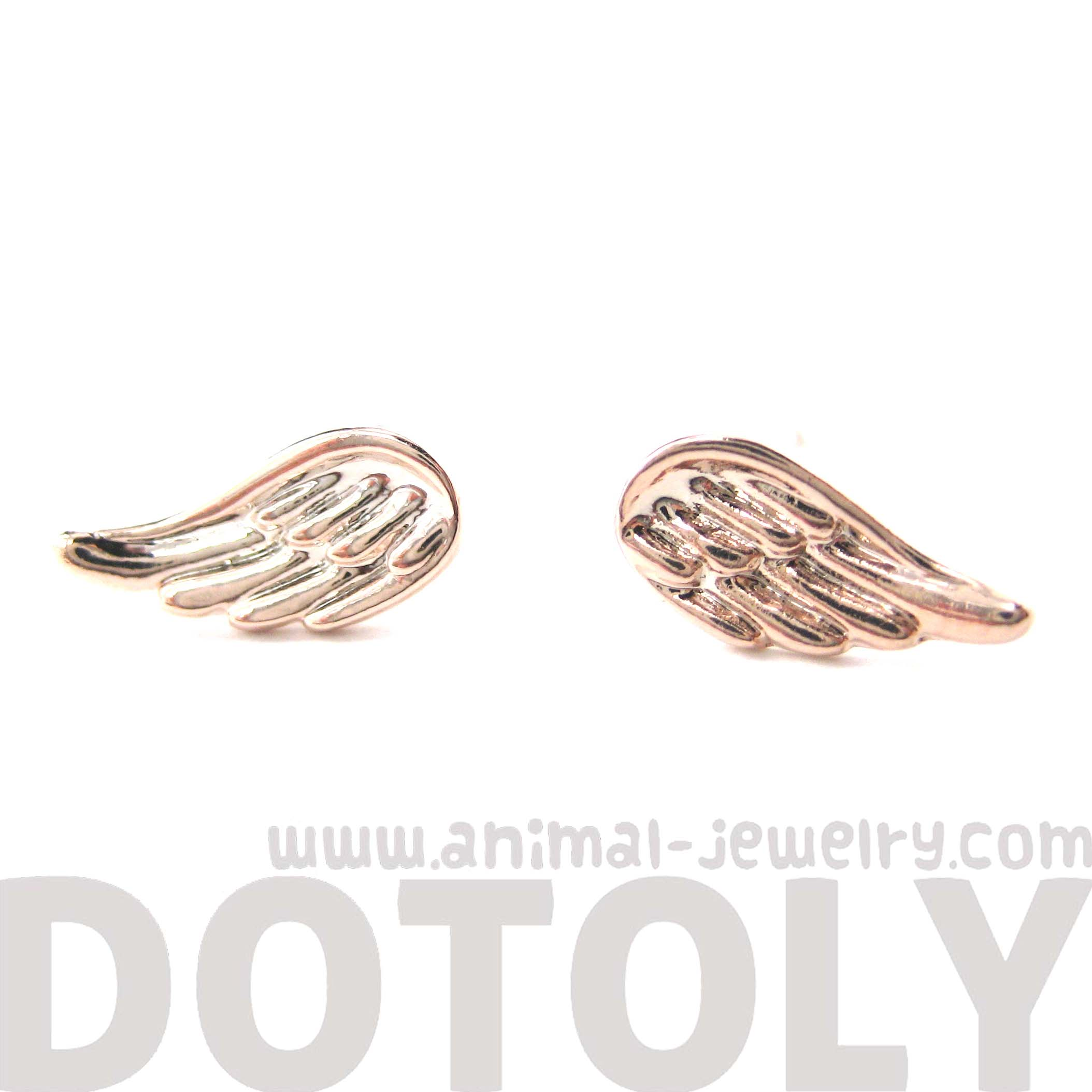 4b4c3d32ee6be Classic Angel Wings Feather Shaped Textured Stud Earrings In Rose Gold from  Dotoly Plus