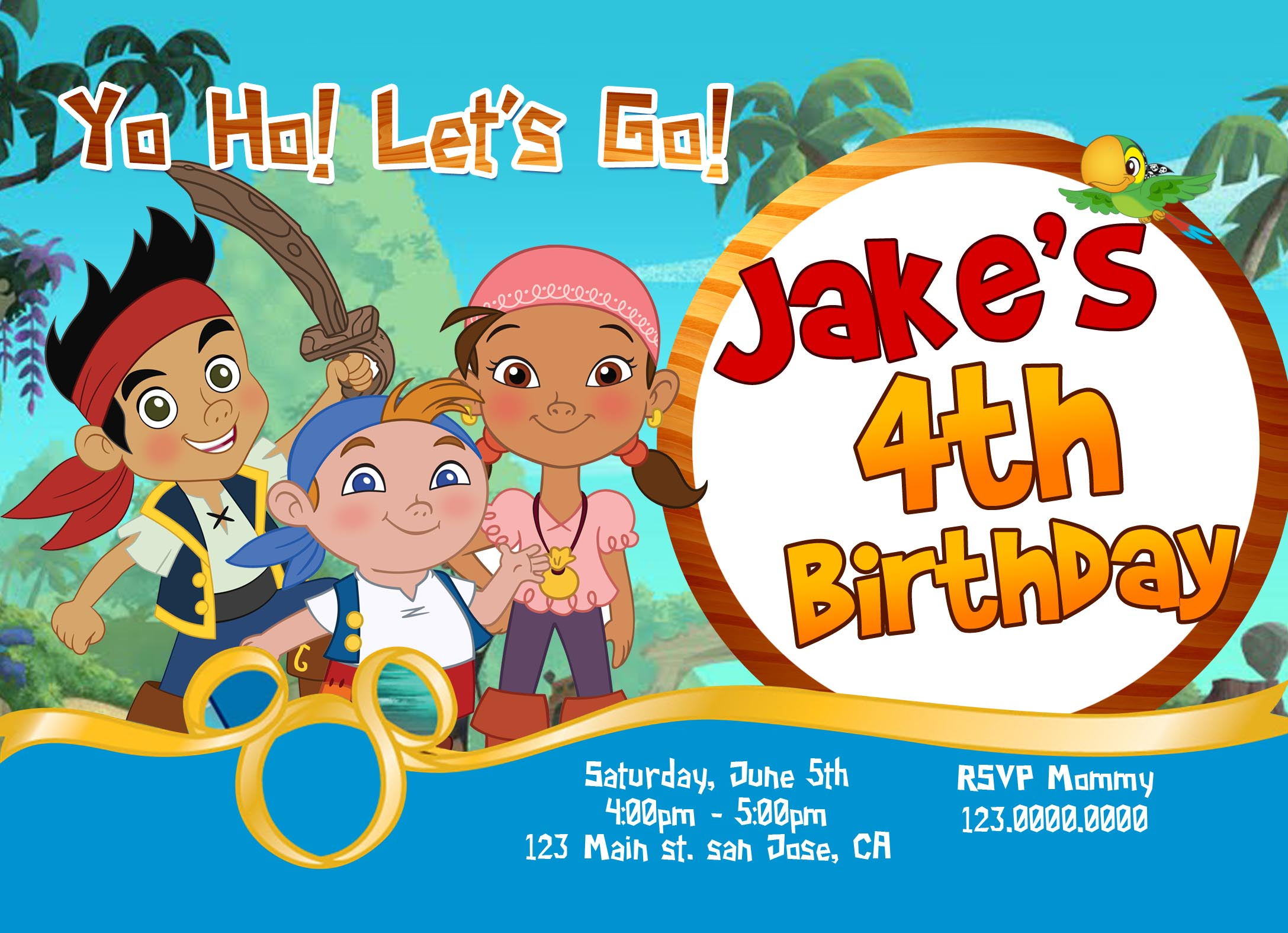 Jake 20and 20the 20neverland 20pirates 20birthday 20invitation 20front Original
