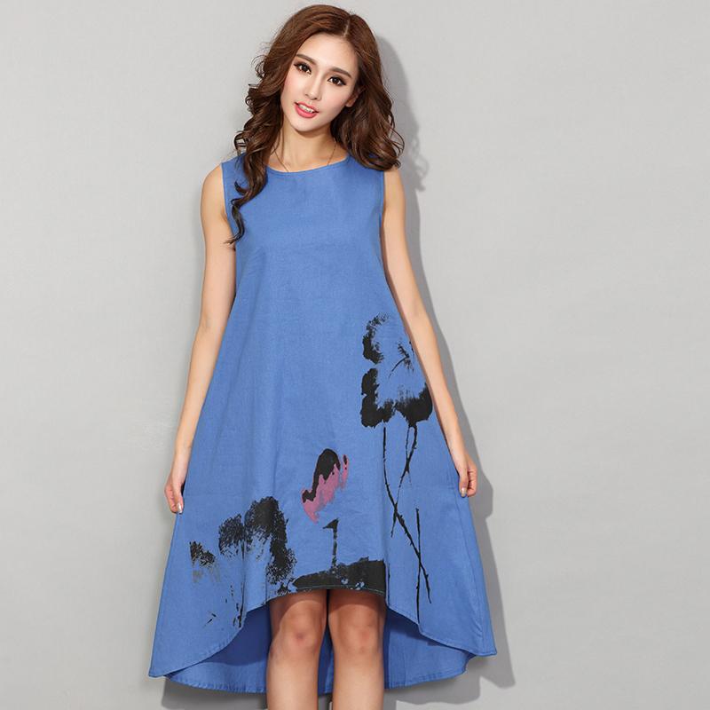 bc888ae0c4fb Fashion China Style Flower Print Sleeveless Comfortable Cotton Linen Casual  Dress Women Summer Dresses Hot Sale ...