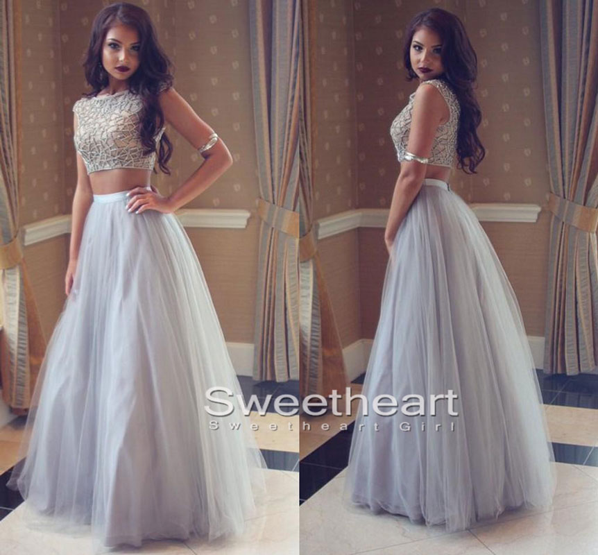 Sweetheart Girl | Unique Gray tulle two pieces long prom dress, gray ...