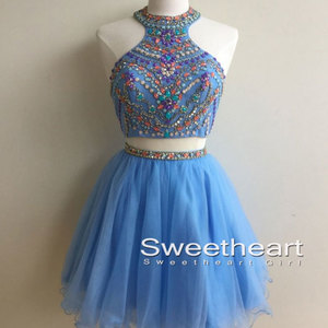 5c5995fe3675 Blue high neck two pieces short prom dress for teens, cute homecoming dress
