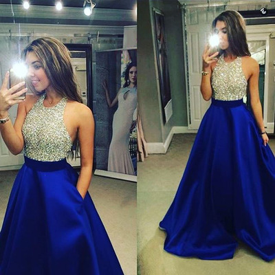 abe6858f89137 Sparkling Crystal Beaded Halter Top Tulle Prom Dress, Backless Royal Blue  Long Satin Prom Dress, Sleeveless Low Back Ball Gown Prom Dress, #020102391  ...