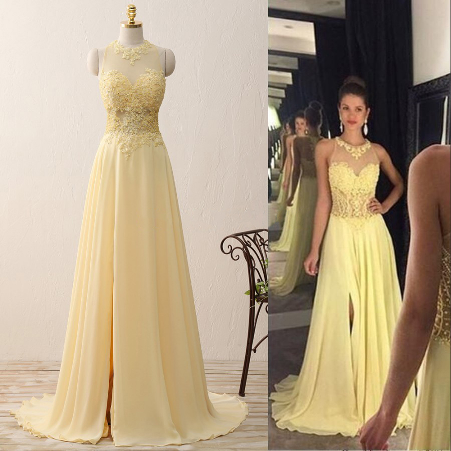 Yellow Floor Length Prom Dresses