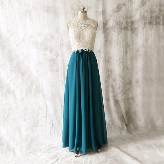 Illusion White Lace Appliques Long Bridesmaid Dress Open