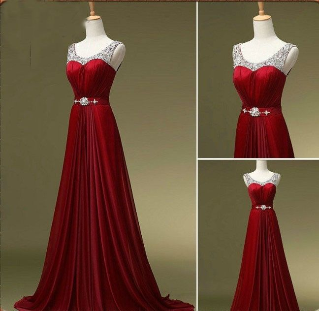 Burgundy Prom Dress, Long Prom Dresses, Evening