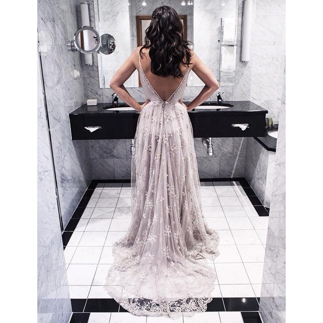 Sexy Low Back Spaghetti Straps Prom Dress Gray Long Court Train A