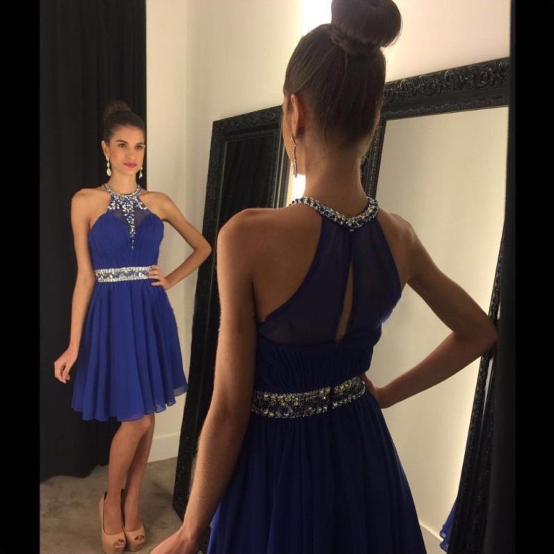 ebb483056df8 Jewel Neck A-line Chiffon Short Prom Dress, Crystal Beaded Royal Blue Key  Hole Back Prom Dress, Empire Mini Prom Dress with Beaded Belt, #020102478  on ...