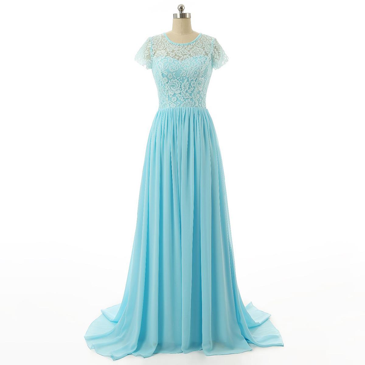 e16d1d092 Scoop Neck Illusion Lace Long Prom Dress