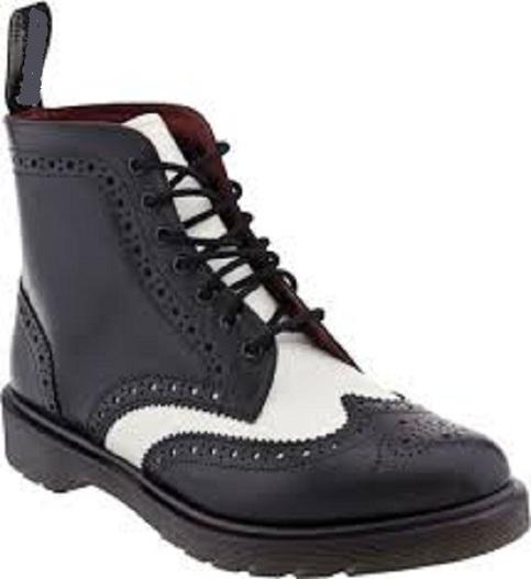 New Handmade Men Black And White Wingtip Ankle Boot Men