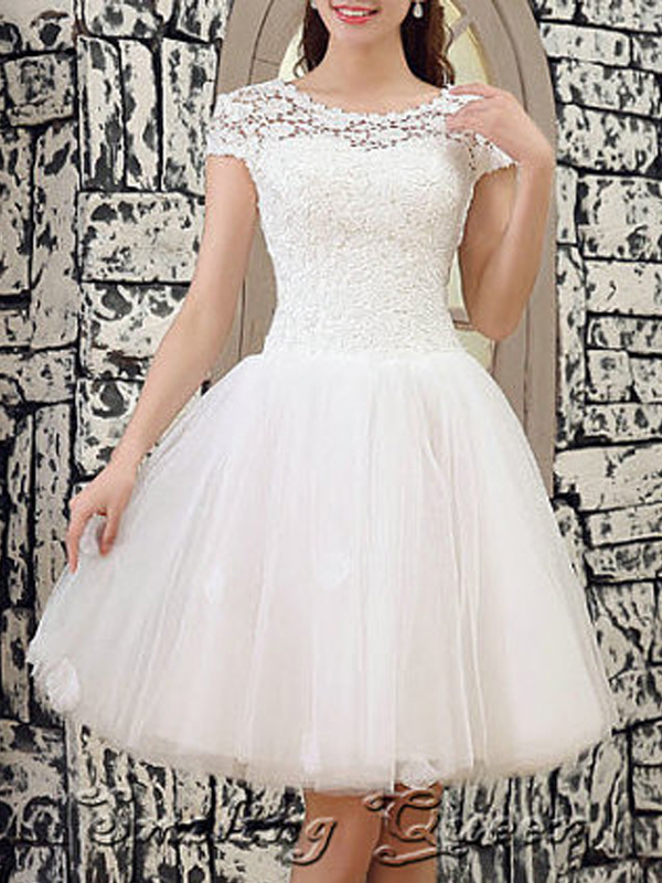 W18 Cap Sleeve Short Wedding Dresses Lace Top Wedding